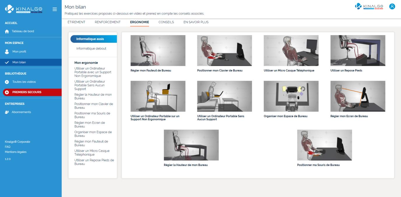 Kinalgo Corporate - Application screenshot Bilan exercices d'ergonomie