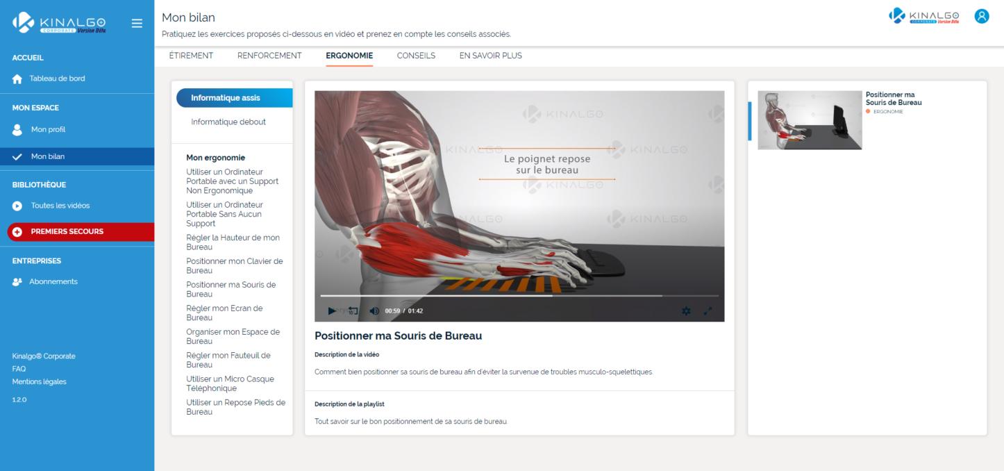 Kinalgo Corporate - Application screenshot Bilan Ergonomie Positionner sa souris de bureau